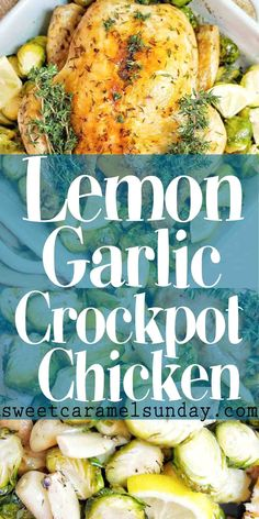 Lemon Garlic Crockpot Chicken Slow Cooker Lemon Garlic Chicken is a seriously delicious and easy recipe! Put the chicken in the slow cooker and head off to work then dinner will be ready when you come home. Healthy Chicken Recipes, Meat Recipes, Drink Recipes, Lemon Recipes, Turkey Recipes, Turkey Dishes, Healthy Foods, Scampi, Sin Gluten
