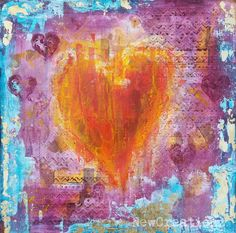 Makeforgood original heart abstract painting happy by NewCreatioNZ