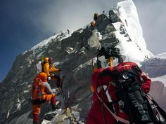 Climbers on Mt. Everest image only