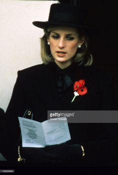 Princess Diana, Princess of Wales and her sister-in-law Princess Anne attend the Remembrance Ceremony at the Cenotaph in London on November 01, 1984.