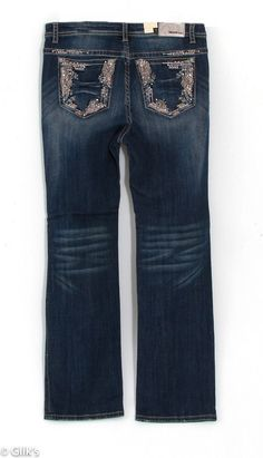 Grace in LA Plus Size Jeans Straight Leg with Border Embroidered Flat Pockets