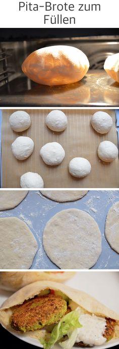 Leckere Pita Brote zum Füllen selber machen. Diese Pita-Brote sind wie Brottaschen, ideal zum füllen mit z.B. Falafel, Gyros oder Salat.
