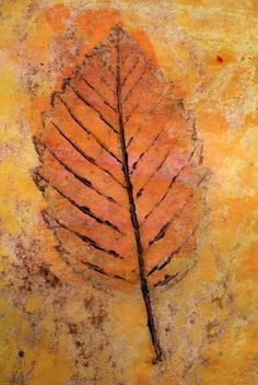 Leaf rubbing with crayon, washed over with waterpaint