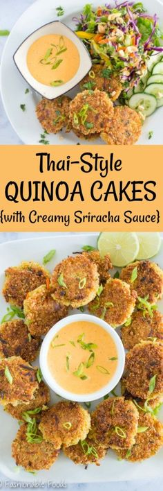 Looking for a new way to enjoy quinoa? You're going to love these crispy thai-style quinoa cakes! They are absolutely delicious over a vegetable salad and topped with creamy sriracha sauce – perfect meatless meal! {Gluten-free, Dairy-Free, Vegetarian}
