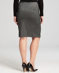 Karen Kane Curvy Plus Size Fashion Gray Metallic Knit Pencil Skirt | Bloomingdale's #Karen_Kane #Curvy #Plus #Size #Fashion #Gray #Metallic #Knit #Pencil #Skirt  #Plus_Size_Fashion #Bloomingdales