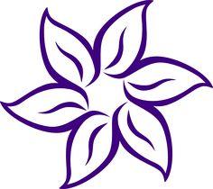 Cartoon Flowers Clip Art | Purple Flower Outline clip art - vector clip art online, royalty free ...
