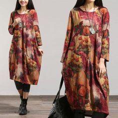 Women Spring Loose Long Sleeve Cotton Dress