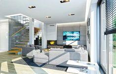 Projekt domu Kasjopea 7 175,95 m² - koszt budowy - EXTRADOM Modern House Plans, Modern House Design, American Houses, Home Room Design, House Front, House Rooms, Home Goods, Sweet Home, Living Room