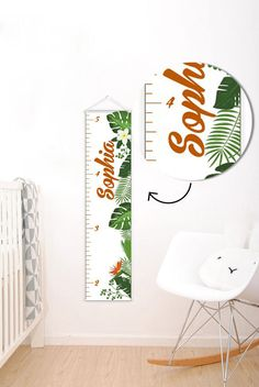 A perfect way to keep track of your little one's growth, the Tropical Decor Personalised Baby Growth Chart will brighten up any child's bedroom as well as provide a fun way to measure height. Marquee Letters, Light Letters, Baby Room Decor, Nursery Decor, Growth Chart Ruler, Growth Charts, Personalized Growth Chart, Personalised Baby, Tropical Home Decor