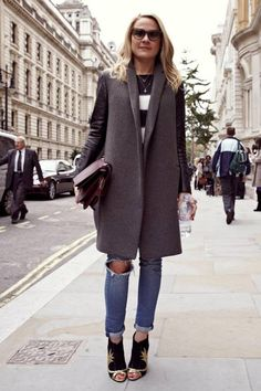Steel gray wool coat with torn skinny ankle jeans and our cashmere stripped sweater