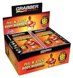 Grabber Peel-n-Stick Adhesive Body Warmer - Box of 40 by Grabber. Grabber Peel-n-Stick Adhesive Body Warmer - Box of Portable Heating Pad, Hunting Gloves, Boat Safety, Outdoor Gadgets, 5 Box, Body Warmer, Outdoor Survival, Display Boxes, Biodegradable Products