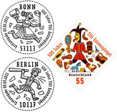 Henning Wagenbreth – German stamps for the anniversary of folk hero Til Eulenspiegel, 2011 Typographic Design, Typography, German Stamps, Berlin, Seal Logo, Folk, Tampons, Mail Art, Stamp Collecting