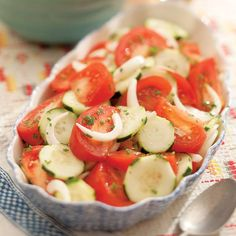 This super simple Summer Tomato, Onion & Cucumber Salad is refreshing with an easy to prepare vinaigrette. Serve as a side salad or a topping on toasty bread.
