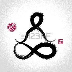 Yoga posa del loto e simbolo dell'elemento acqua con stile orientale pennellata photo