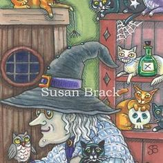 Art: HOME SWEET HOME by Artist Susan Brack Whimsical Halloween, Witch Cat, Owl Bird, Art Portfolio, Hallows Eve, Cat Lady, Art Day, Trick Or Treat, Sweet Home