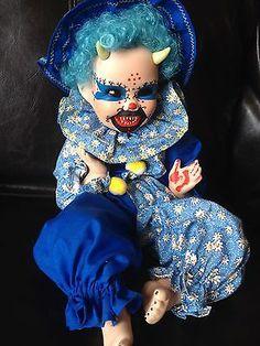 "OOAK Goth Reborn Clown Porcelain 14"" Crimson Moon Demon Baby Horror Doll | eBay"