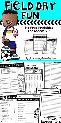 Five fun Field Day Themed Printables and a Writing Prompt - perfect for grades Print and go! Teacher Resources, Classroom Resources, Learning Resources, Teaching Ideas, Classroom Ideas, 5th Grade Classroom, Word Work Activities, Field Day, Elementary Education