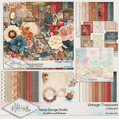 Digital scrapbooking kit from Alexis Design StudioVINTAGE TREASURES http://www.thedigichick.com/shop/Vintage-Treasures-Collection.html