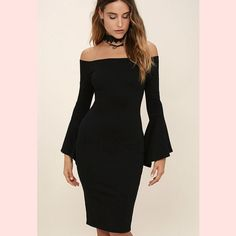 Elegant Flare Bell Off Shoulder Vintage Bodycon Pencil Dress - FashionandLove.com