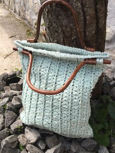 Crochet bag with wooden handles by JustForYouhm on Etsy