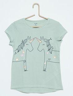 Tee-shirt imprimé lapin                                                                             vert cendré Fille   - Kiabi