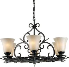 Photon 6 Light 20'' Bordeaux Finish Incandescent Chandelier with Mica Flake Glass at Menards