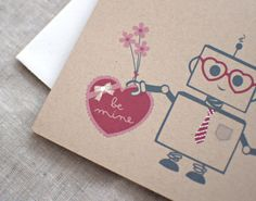 CUTE!  Robot Valentines card.