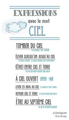 Les expressions avec le mot ciel=Expressions with the word sky.