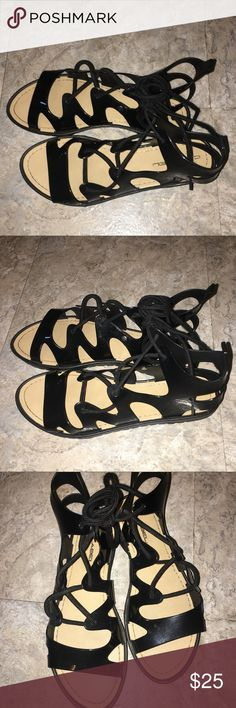 GLADIATOR SANDALS! Perfect gladiators sandal worn once perfect Condition, straps lace up the legs! Must buy! Patent leather! Very chic! Shoes Sandals