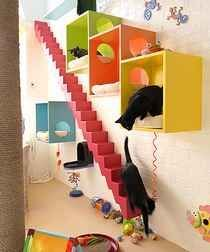 For the cat room - sleeping cubbies, wal-mountained stairs    Designing and building the cat room took her back almost three decades, to the period between 1975 and 1980 when she owned a wood shop that designed accessory pieces of furniture – medicine cabinets, bread boxes, toilet pape