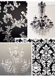 damask and chandeliers. This would look really good in my master bedroom :]