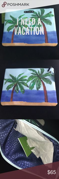 Kate Spade Gia Talk the Talk NWT/ineedavctn bag Kate Spade Gia Talk the Talk NWT/ineedavctn I need a vacation- bag                                                                             NO TRADES PLEASES OPEN TO REASONABLE OFFERS kate spade Bags Clutches & Wristlets