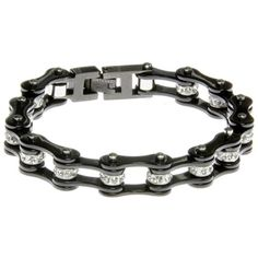 """1/2"""" Wide Two Tone All Black with crystal centers motorcycle chain."""