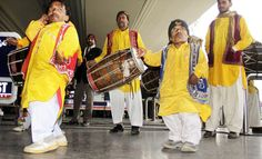 LAHORE: Jan07 – Drum beaters and dancers welcoming traditionally the players of Pakistan cricket team on their arrival at Allama Iqbal International Airport after winning ODI cricket series in India.
