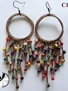 Funky beaded crocheted earrings