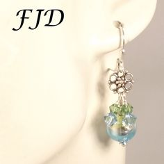 Sterling Silver and Murano Glass Earrings by FelicityDesignsLLC on Etsy