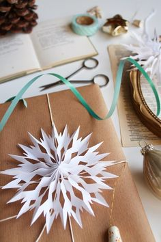 DIY: paper snowflakes; can be hung from the ceiling; christmas tree ornaments, or decorations