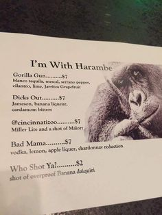 My local bar had a night to honor Harambe. #funny #funnyPicture #FunnyText #funnyVideo #funnyPost #funnyQuotes #FunnyStuff #FunnyAnimals #funnyJokes #FunnyThings #FunnyDogs #FunnyCats #FunnyKids #FunnyPeople #Funnypranks