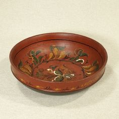 Norway Rosemaled Turned Ale Bowl Hand Painted Norge Scandinavian Folk Art