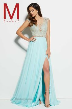 Stop the show in this truly elegant prom dress with lots of stunning details. With a plunging V-neckline you will blow away the crowd and sparkle with amazing crystal beaded embellishments along the bodice. From the cap sleeves to the waistline, the entire bodice is decorated with crystals and silver stones. The back looks super eye-catching with a V-open back. A full chiffon overlay skirt and high-leg slit makes it easy to move and dance the night away in your graceful prom