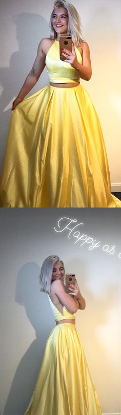 two piece yellow long prom dress, 2018 prom dress, party dress, senior prom dress