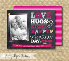 Love Hugs Kisses and Valentine wishes photo card