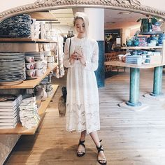 """@freckledpony looking cute in our high neck midi lace prairie dress! #pixiemarket #ootd #selfie"""