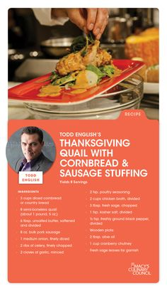 Macy's Culinary Council Chef Todd English's Thanksgiving Quail with Cornbread & Sausage Stuffing