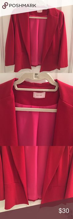 NEW without tags Love Ady Red Blazer. Bought from Lord and Taylor and never wore. Looks great with dresses and jeans. Flexible material and great shaped. Fully lined with pink material. Size M but fits like a small. Lord & Taylor Jackets & Coats Blazers