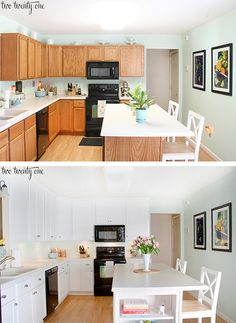 kitchen cabinets makeover before after – Kitchen cabinets Cabinets To Ceiling, Refacing Kitchen Cabinets, Cabinet Refacing, Cabinet Makeover, Painting Kitchen Cabinets, Kitchen Cabinetry, Kitchen Redo, New Kitchen, Oak Cabinets