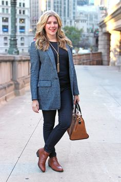 Sincerely, Jennie - @bananarepublic jacket and @forever21 cognac booties