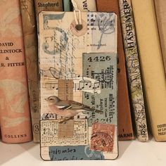 """111 Likes, 13 Comments - Sofia Shearring (@fishearring) on Instagram: """"Little collaged tag number 4 #vintagepapers #handcarvedstamps • • • • • • #multimediacollage…"""""""
