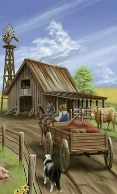 Diamond Painting Brown Wood Barn and Wagon Kit Arte Country, Country Life, Cenas Do Interior, Farm Paintings, Old Wagons, Farm Art, Country Scenes, Old Farm, Western Art