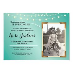 Photo Birthday Party Teal String Lights Invitation Surprise Birthday Invitations, 70th Birthday Card, Birthday Photos, Birthday Ideas, Zazzle Invitations, Invite, Christmas Card Holders, Colored Envelopes